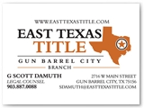 East Texas Title Business Card